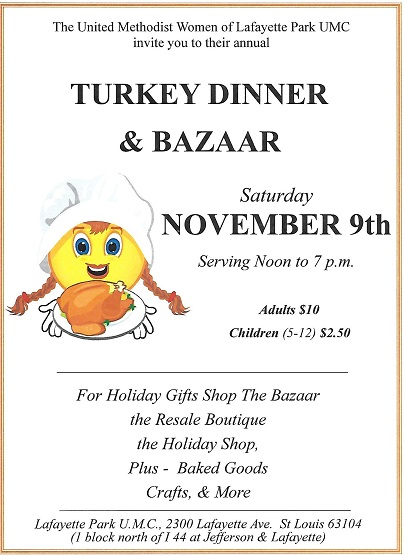 Lafayette Church: Turkey Dinner & Bazaar @ Lafayette Park United Methodist Church