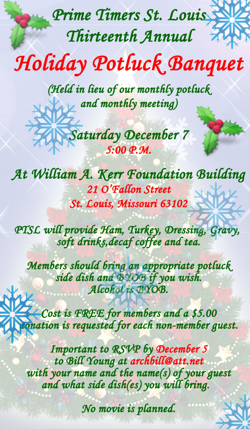 Annual Holiday Potluck Banquet - RSVP Accepts Only @ Kerr Foundation Bldg
