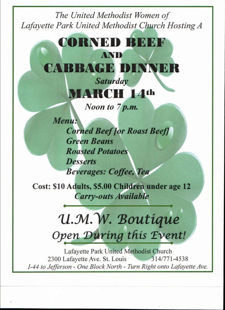 (CANCELED) Lafayette Church: Corned Beef & Cabbage Dinner @ Lafayette Park United Methodist Church